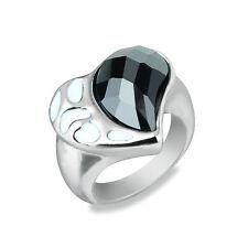 Women Stainless Steel Fashion Black Agate Stone Enamel Heart Ring Jewelry Size 6