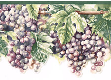 Tuscan Fruit Purple Blue Grapes Sculptured Die Cut Kitchen Wall paper Border