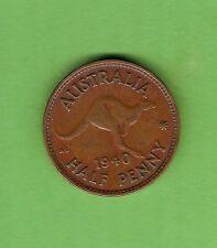 #C17. 1940  AUSTRALIAN BRONZE HALFPENNY, PLANCHET FLAW ON HEAD SIDE