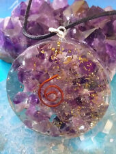 EXTRA LARGE ORGONE AMETHYST CRYSTAL QUARTZ COPPER COIL PENDANT WITH CHAIN