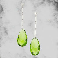 Elegant Prehnite Wedding Engagement Drop Dangle Earrings Silver Hoop Jewelry