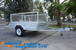 7x5 GALVANISED FULLY WELDED BOX TRAILER WITH 600mm CAGE & BRAKE ATM 1400KG