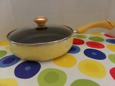 "PAULA DEEN PAN~2 3/4 QUART COVERED SAUTE FRYING PAN ~ ""BUTTER"" YELLOW SPECKLENEW"