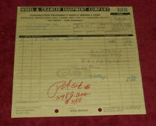 1971 Wheel & Crawler Equipment Company Fogelsville Pennsylvania Billhead