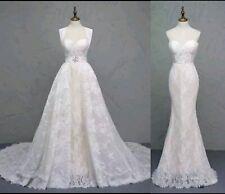UK Champagne/White Detachable Train Mermaid Lace 2 in 1 Wedding Dresses Size 10