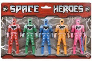 Set of 5 Space Heroes Toys Kids Power Rangers Action Figures 14.4 cm x 7.5 cm