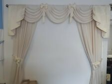 SWAGS AND TAILS CURTAINS CREAM/CREAM PATTERN TIES +T/ BACKS 90X60X90 LINED