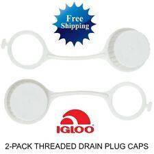 2PK IGLOO COOLER 20049 THREADED DRAIN PLUG CAPS Replacement Part Cap Kit Plugs