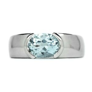 8x6mm Natural Light Greenish Blue Aquamarine Ring in 925 Sterling Silver