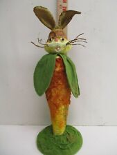New Vintage Style Paper Mache Bunny Rabbit w/ Carrot Body Easter 13""