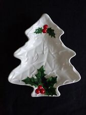 """Lefton CHRISTMAS TREE Serving Dish Small 8"""" White with Holly Berries Vintage 70s"""
