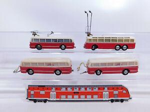 CQ270-0,5# 2x Eheim H0/00 Trolley-Bus mit Anhänger, Mängel, rot/beige