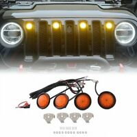 4PCS  LED Amber Grille Lights yellow light Raptor Style For Jeep Wrangler JK EA