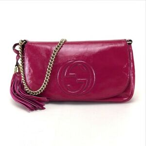GUCCI SOHO Chain Shoulder Bag Pink Patent Leather 336752