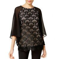 ALFANI Women's Black Crochet-lace Contrast Bell Sleeves Blouse Shirt Top TEDO