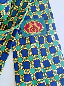 """Vintage GUCCI Classico Paolo Gucci Equestrian Gold Links Blue Green Necktie 60"""""""