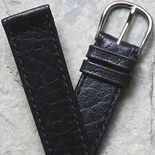Swiss vintage watch band 16mm unpadded black calfskin NOS 1960/70s steel buckle