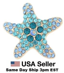 Snap Jewelry Rhinestone Starfish Gold 18-20mm Fits Ginger Charms Accessories