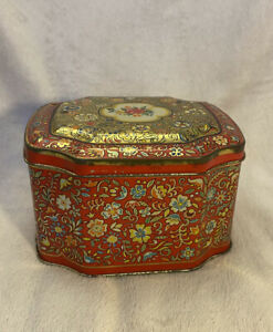 VINTAGE Horner Red Floral Tin Trinket Box Container Hinged England