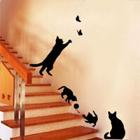 Cats Butterfly Wall Stickers Art Decals Mural Wallpaper Decor Home Bedroom DIY