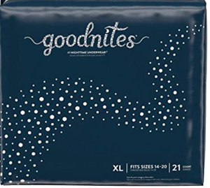 Goodnites XL Diapers. New XL Size. 95 -140+ Ibs - GIRLS - Pack of 21 - Free Ship