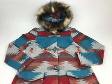BB DAKOTA Faux Fur HOOD Aztec KOA Durango Wool Blend COAT Jacket TOGGLES Sz M