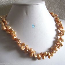 """18"""" 6-7mm Dark Champagne 2Row Keshi Freshwater Pearl Necklace"""