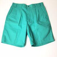 Vintage Bugle Boy Mens Size 32 Green Pleated Front Khaki Shorts