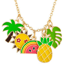 Lux Accessories Gold Tone Enamel Tropical Fruit Novelty Cluster Charm Necklace