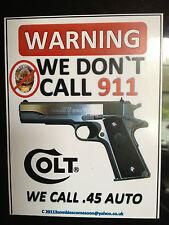 COLT guns 'avertissement, nous dont appel 911' grande nouveauté autocollant, également d'autres rend