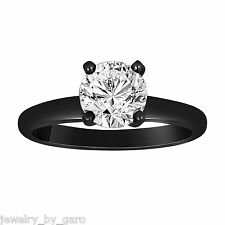 0.70 Carat Solitaire Diamond Engagement Ring,14K Black Gold GIA Certified