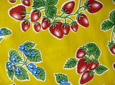 YELLOW STRAWBERRY FOREVER RETRO KITCHEN PATIO OILCLOTH VINYL TABLECLOTH 48x48