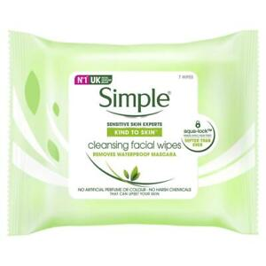 Simple Cleansing Facial Wipes 7 Pack With Vitamin E Vitamin B5 Remove Makeup