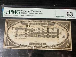 pmg obsolete currency us paper money. 1808 3$ Vermont Woodstock. PMG-63