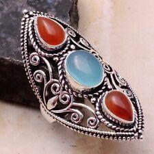 Chalcedony Carnelian Ethnic Gift Handmade Ring Jewelry US Size-8.75 AR 4154