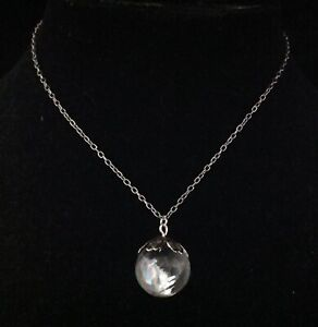 Crystal Ball Necklace Rock Crystal Quartz Sphere Pool of Light Pendant