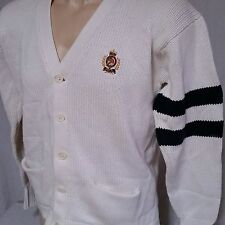 VTG Polo Ralph Lauren Cookie Crest Cardigan Sweater 90s Pwing Bear Flag Large
