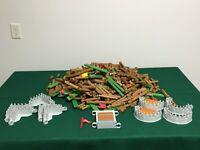 16 Pounds of Lincoln Logs + Castle Parts