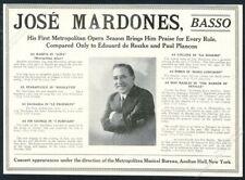1918 Jose Mardones photo basso opera singing recital booking trade print ad
