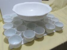 Vintage Concord Milk Glass Punch Bowl matching 30 Cups By McKee Pressed Glass