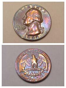 1959 US Washington Quarter Dollar 90% Silver Birthday Gift Gold Toned Art Coin