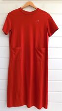 MINÄ PERHONEN Red Cotton Midi Short Sleeved Crew Neck T Shirt Dress -Sz.38