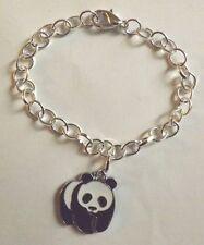 bracelet argenté 20 cm panda noir et blanc 24x20mm