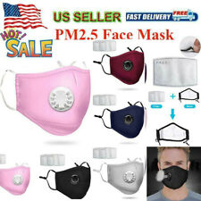 Washable Reusable Respirator Air Vent Cloth Face Mask + 2 PM 2.5 Carbon Filters