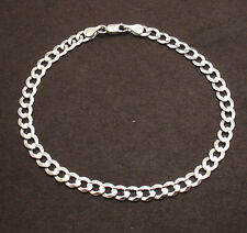 """8"""" 4.7mm Mens Solid Curb Miami Cuban Link Bracelet Real 14K White Gold"""