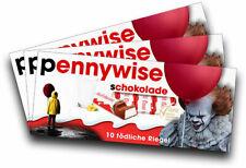 3x Aufkleber PENNYWISE (Motiv 3/4) für Kinderschokolade (Geschenk, Gadget)
