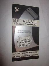 1950's Metallate Insulation brochure Tomkins Brothers Wholesale Distributors