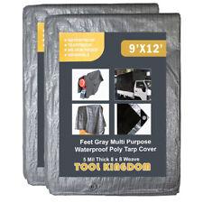 2PCS Tool Kingdom 9x12 Feet Gray Multi Purpose Waterproof Tarp Cover 5Mil Thick