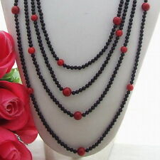 Vintage styled flapper length black onyx and coral longline necklace