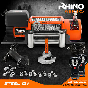 12v Electric Winch, 17500lb Electric Truck 4x4 Recovery + Mounting Plate ~ RHINO